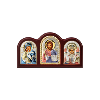 Триптих зі Спасителем, Богородицею Володимирською та Святим Миколаєм в кольорі