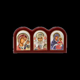 Триптих зі Святим Миколаєм, Богородицею Казанською та Богородицею Єрусалимською в кольорі