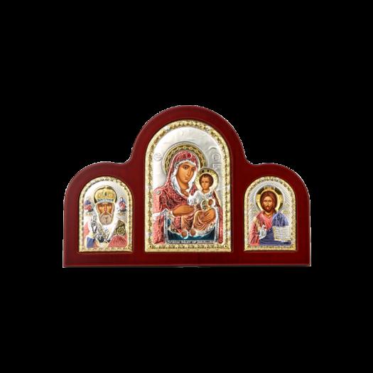 Триптих із Богородицею Єрусалимською, Святим Миколаєм та Спасителем в кольорі