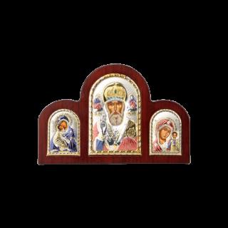 Триптих зі Святим Миколаєм, Богородицею Казанською та Богородицею Володимирською в кольорі