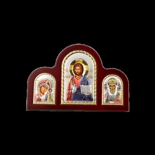 Триптих зі Спасителем, Богородицею Казанською та Святим Миколаєм в кольорі