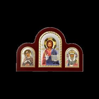 Триптих со Спасителем, Богородицей Семистрельной и Святым Николаем в кольорі