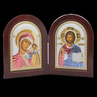 Диптих Богородиця Казанська та Спаситель
