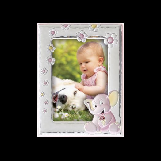 Рамка зі срібла для дівчинки Слоненя рожева
