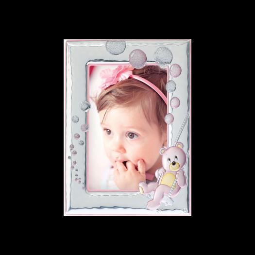Рамка зі срібла для дівчинки Ведмежатко, рожева