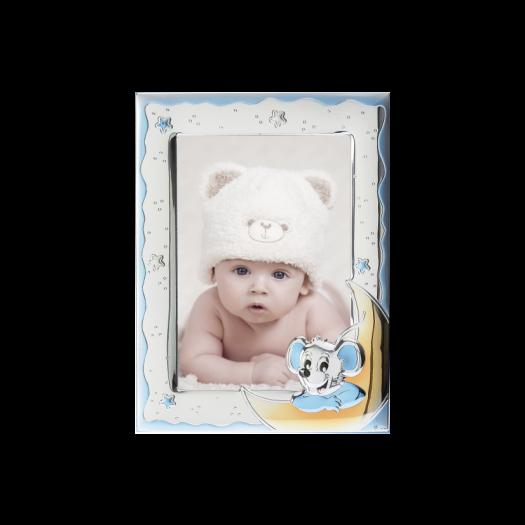 Рамка зі срібла для хлопчика Мишинятко на місяці, блакитна