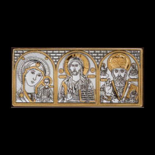 Ікона потріна Богородиця Казанська, Спаситель, Микола Чудотворець