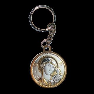 Икона двойная Богородица Казанская и Николай Чудотворец на металлическом брелке