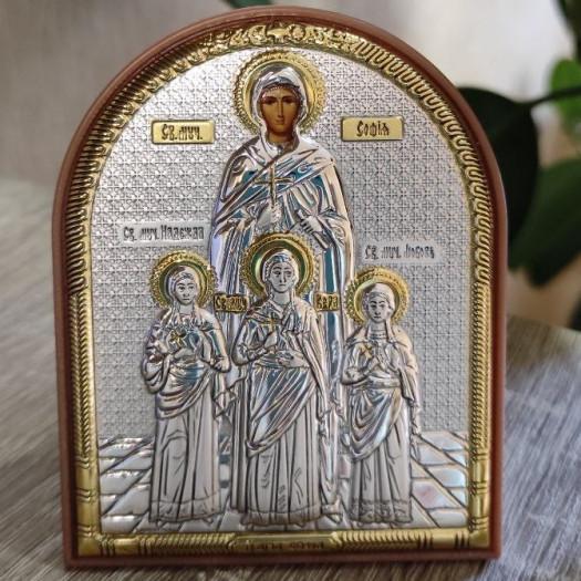 Ікона Віра, Надія, Любов та мати їх Софія срібіна із позолотою