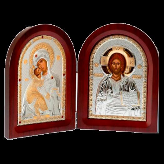 Диптих Богородиця Володимирська та Спаситель